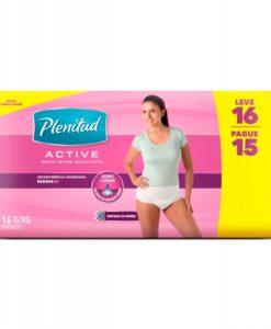 Roupa Intima Plenitud Active Mulher com 16 unidades Embalagem Econômica G e XG