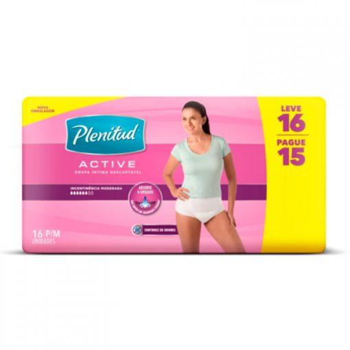 Roupa Intima Plenitud Active Mulher com 16 unidades Embalagem Econômica P e M