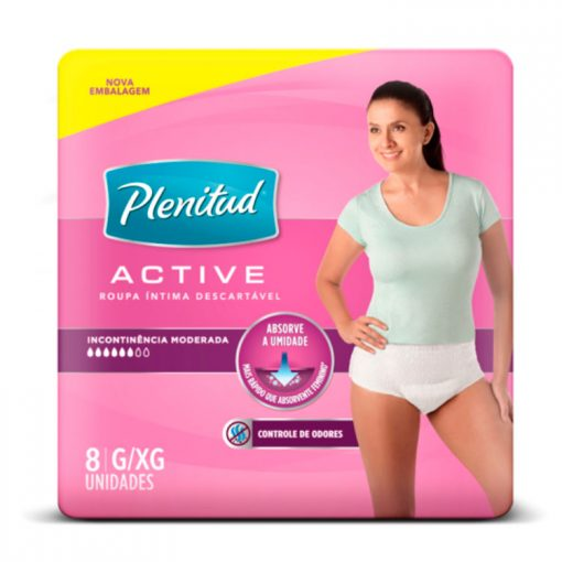 Roupa Intima Plenitud Active Feminina 8 unidades G e XG