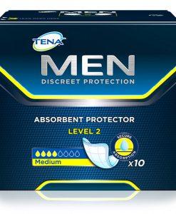 Absorvente, TENA, Men Level 2, Gino, Material Médico Hospitalar, maior absorção, segurança, Level 1, conforto, secura, durante todo o dia, formato em concha, desenhado especificamente, para a anatomia masculina, discreto, faixa adesiva, Level 2, homens,