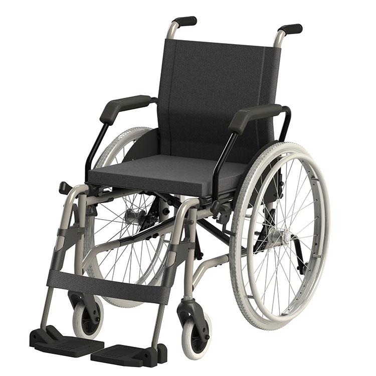 Cadeira de Rodas Taipu - Ortopedia Jaguaribe, alumínio aeronáutico, Estrutura dobrável em x Pintura eletrostática epóxi, Estofamento em Nylon, Encosto com regulagem de altura, Rodas anti-tombo, Freios bilaterais reguláveis, Almofada em espuma, Protetores