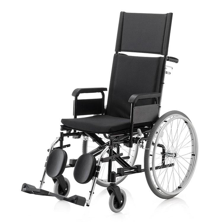Gino, Material Médico Hospitalar, Cadeira de rodas KR plus, Ortopedia Jaguaribe, Construída em aço, Estrutura dobrável em duplo X, Pintura eletrostática epóxi, Encosto reclinável com sistema de catracas, Esticador de encosto, Apoio de cabeça removível, E