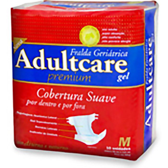 Fralda Geriátrica Adultcare Premium M - Tamanho do produto: Cintura 80 a 115 cm e Peso até 80 Kg Quantidade na embalagem: 10 unidades